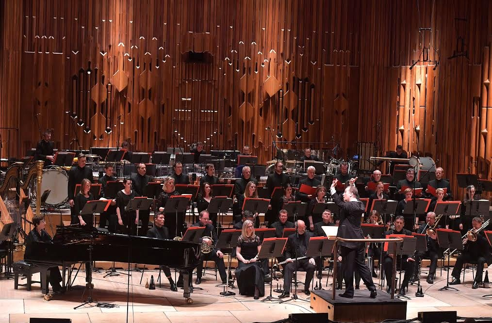 The BBC Symphony Orchestra and BBC Singers perform Varèse's Étude pour 'Espace' conducted by Sakari Oramo at the Barbican on Saturday 6 May Photograph: BBC/Mark Allan