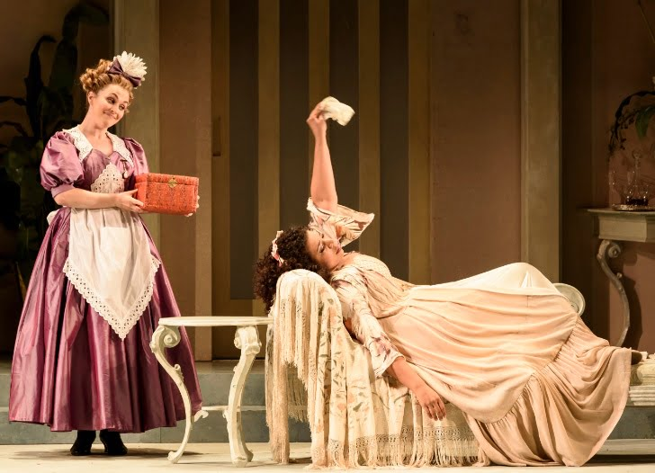 WNO Die Fledermaus - Rhian Lois (Adele) & Mary Elizabeth Williams (Rosalinde)Photograph: Bill Cooper