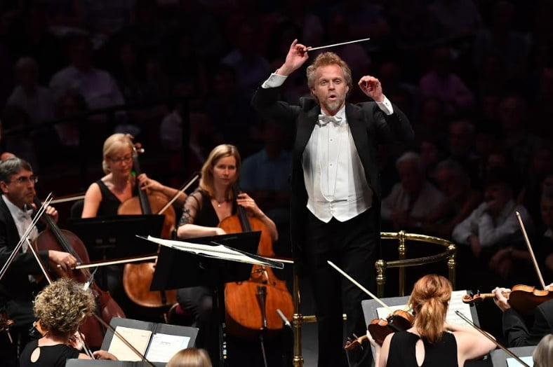 Thomas Søndergård conducts the BBC National Orchestra of Wales at the 2017 BBC Proms (Prom 6) at the Royal Albert HallPhotograph: Chris Christodoulou/BBC