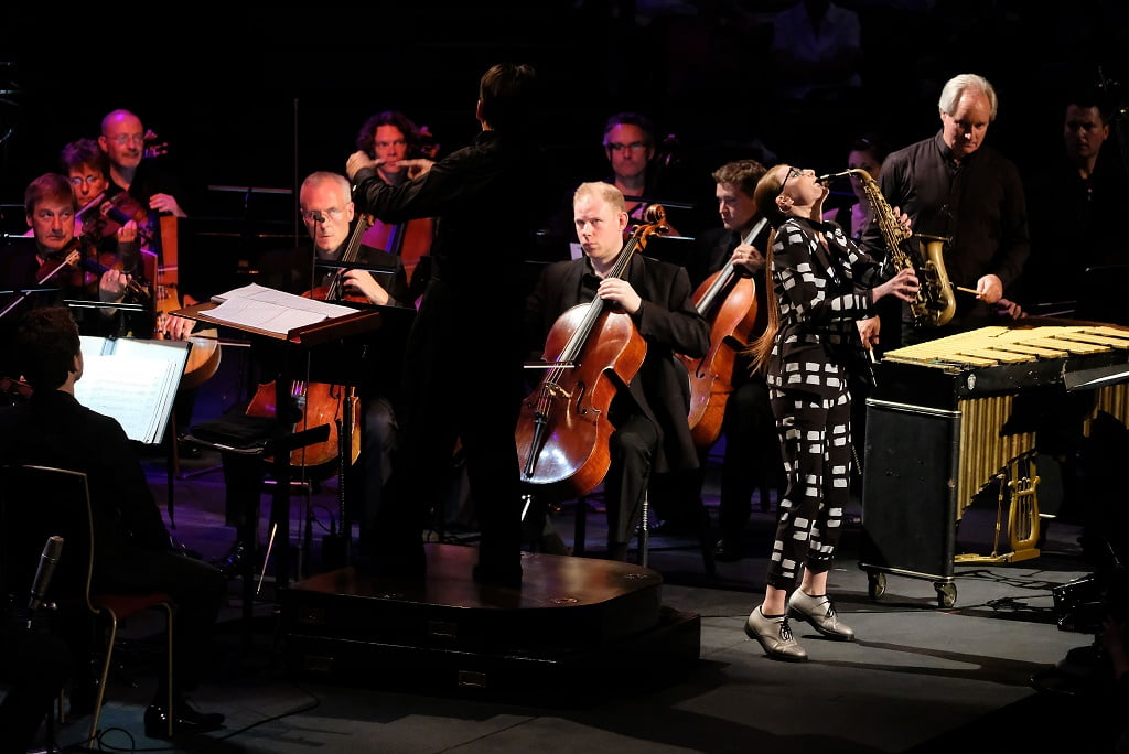 Saxophonist Jess Gillam performs Escapade No. 3 (Joy Ride) from the film Catch Me if You Can with conductor Keith Lockhart and the BBC Concert Orchestra at the 2017 BBC PromsPhotograph: Mark Allan/BBC
