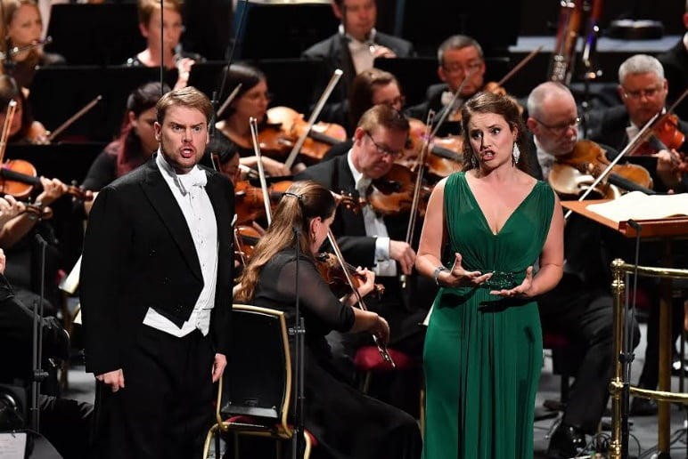 Louise Alder and Benjamin Hulett play Marzelline and Jaquino in Beethoven's Fidelio at the 2017 BBC Proms at the Royal Albert HallPhotograph: Chris Christodoulou/BBC