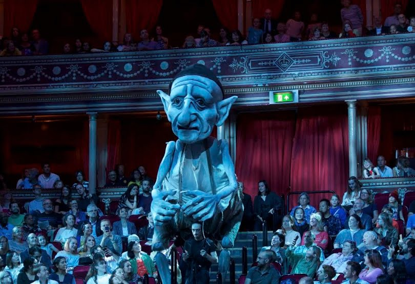 A gnome puppet inspired by Mussorgsky's Pictures at an Exhibition – Gnomus makes its way into the Royal Albert Hall arena at Ten Pieces Presents… Sir Henry's Magnificent Musical Inspirations at the 2017 BBC PromsPhotograph: Pete Dadds/BBC