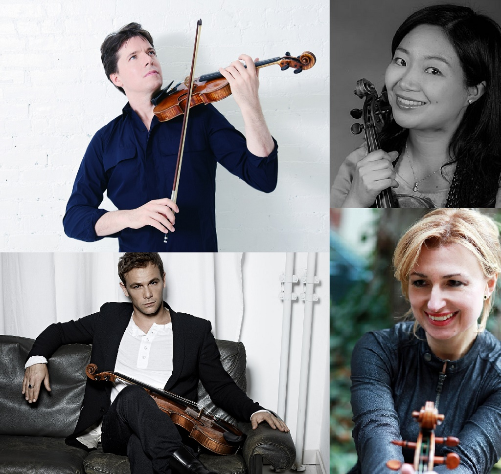 Clockwise from top-left:Joshua Bell (joshuabell.com)Arisa Fujita (www.gsmd.ac.uk)Rachel Roberts (www.tashmina.co.uk)Amihai Grosz (Brinks Artist Management)