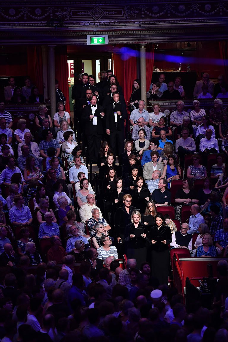 The Latvian Radio Choir process into the Royal Albert Hall Arena performing the Russian Orthodox Chant, Grob Tvoy, Spase, at the BBC Proms 2017 at the Royal Albert Hall.Photograph: BBC/Chris Christodoulou