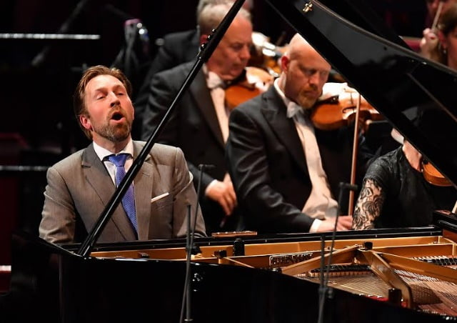Pianist Leif Ove Andsnes performs in Rachmaninov's Piano Concerto No. 4 in G minor with the Oslo Philharmonic conducted by Vasily Petrenko at the 2017 BBC PromsPhotograph: Chris Christodoulou / BBC