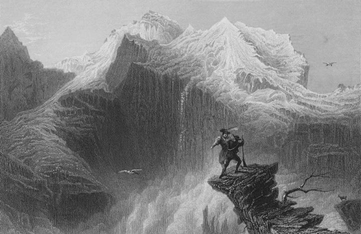 Lord Byron's Manfred on the Jungfrau, Switzerland (Bartlett)