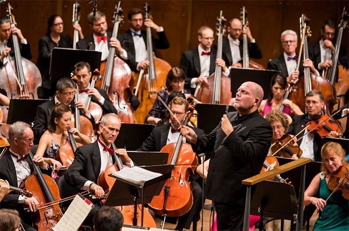 106 All-Stars: Opening Concert of the New York Philharmonic's 2017-18 season – Jaap van Zweden conducts Mahler 5Photograph: Chris Lee