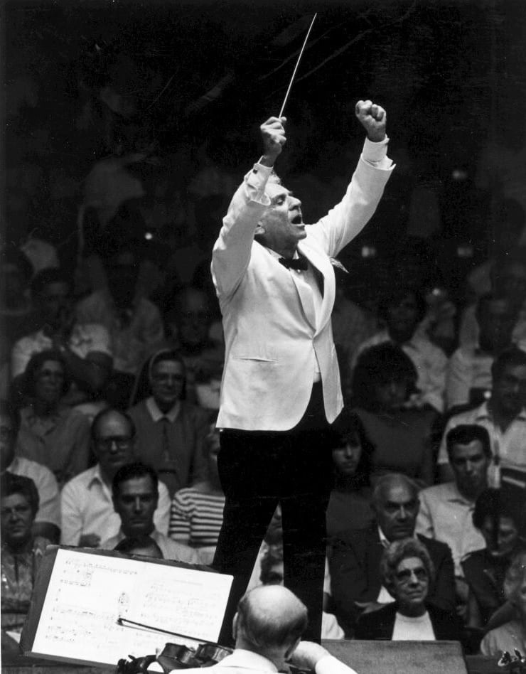 Leonard Bernstein conducting the New York Philharmonic on tour at the Blossom Music Center, Cleveland, 1986. (Music Division)Photograph: U.S. Library of Congress
