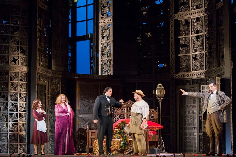 Christiane Karg as Susanna, Rachel Willis-Sørensen as the Countess, Adam Plachetka as Figaro, Paul Corona as Antonio, and Luca Pisaroni as the Count in Mozart's Le nozze di FigaroPhotograph: Chris Lee/Metropolitan Opera