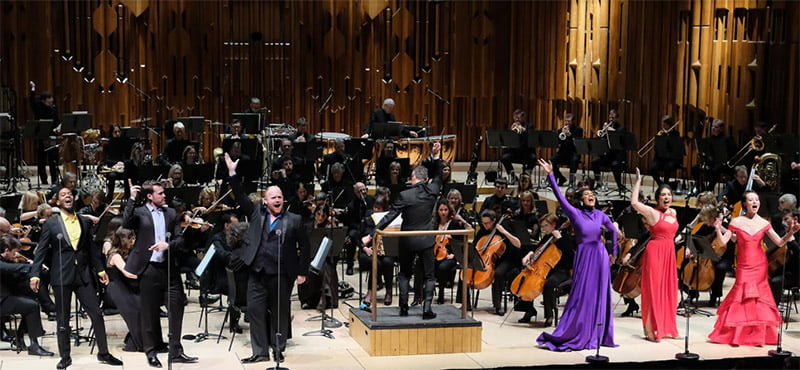 Baritone Nmon Ford, bass Brandon Cedel, tenor Nicky Spence, mezzo-soprano J'Nai Bridges, soprano Sophia Burgos and mezzo-soprano Fleur Barron perform Bernstein's Songfest with the BBC Symphony Orchestra under conductor David Charles Abell at the Barbican Photograph: BBC/Mark Allan