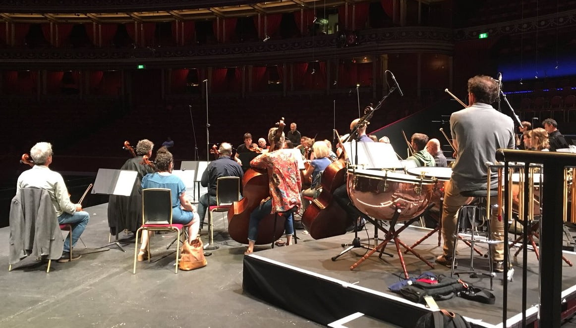 Joshua Bell & Academy of St Martin in the Fields rehearse for their BBC Prom in the Royal Albert HallPhotograph: twitter @ASMForchestra