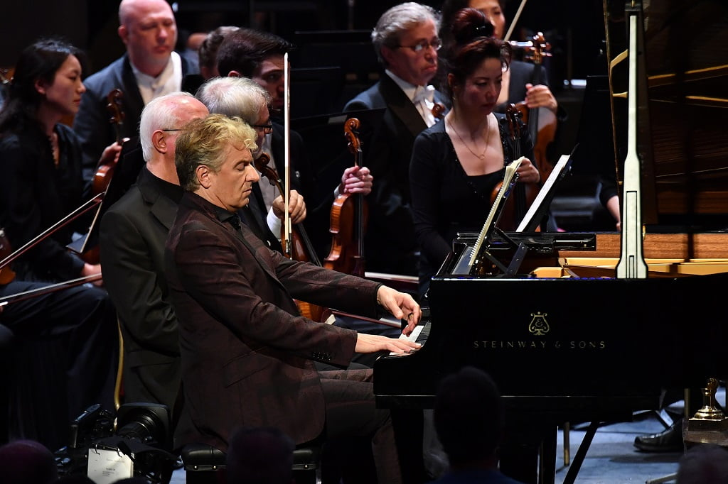 Marin Alsop conducts the Baltimore Symphony Orchestra at Prom 60 during BBC Proms 2018, with pianist Jean-Yves ThibaudetPhotograph: Chris Christodoulou / BBC