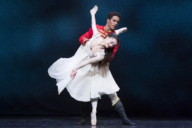 Artists of The Royal Ballet in The Nutcracker, The Royal Ballet © 2018 ROHMarcelino Sambé as Hans Peter and Anna Rose O'Sullivan as ClaraPhotograph: Alastair Muir