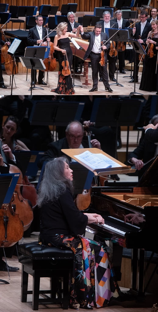 Anne-Sophie Mutter & Maxim Vengerov (violins) & Martha Argerich (piano) in the Barbican Hall for the Oxford Philharmonic's 20th Anniversary ConcertPhotograph: Richard Cave