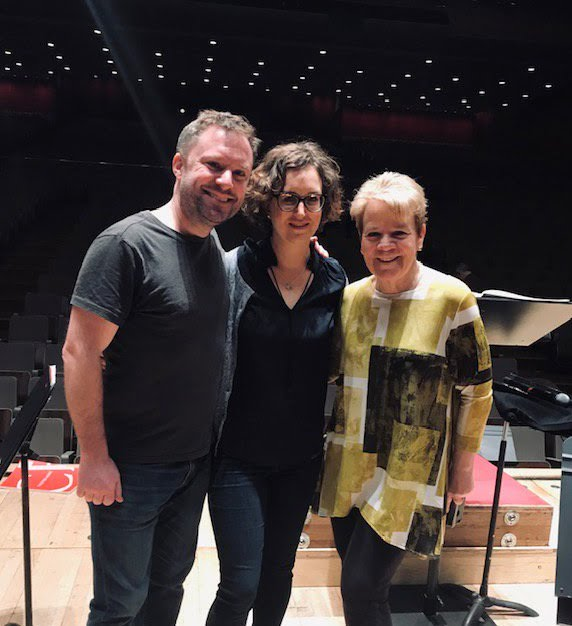 Colin Currie, Helen Grime and Marin Alsop in the Royal Festival HallPhotograph: twitter @IntermusicaLtd