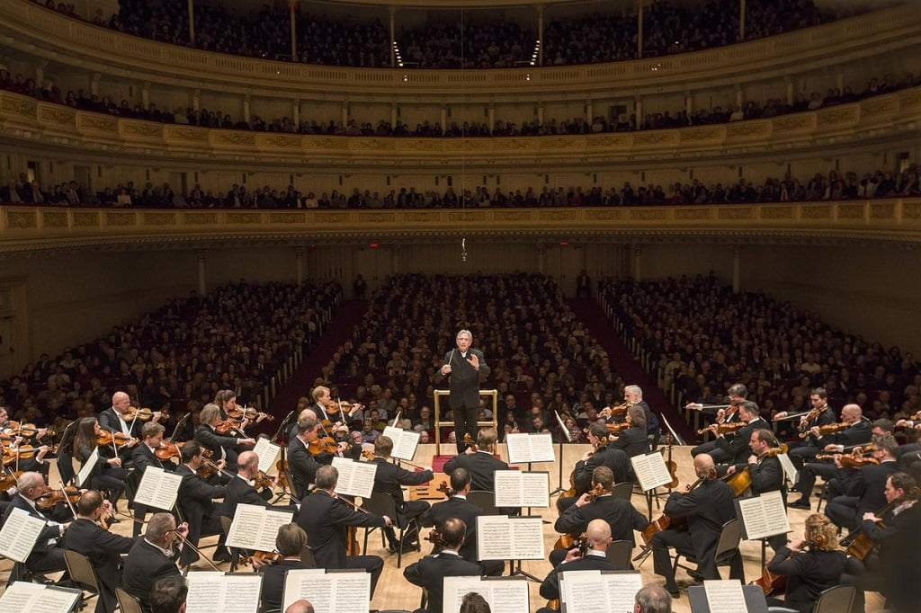 Michael Tilson Thomas conducts the Vienna Philharmonic in the Stern Auditorium at Carnegie HallPhotograph: Richard Termine