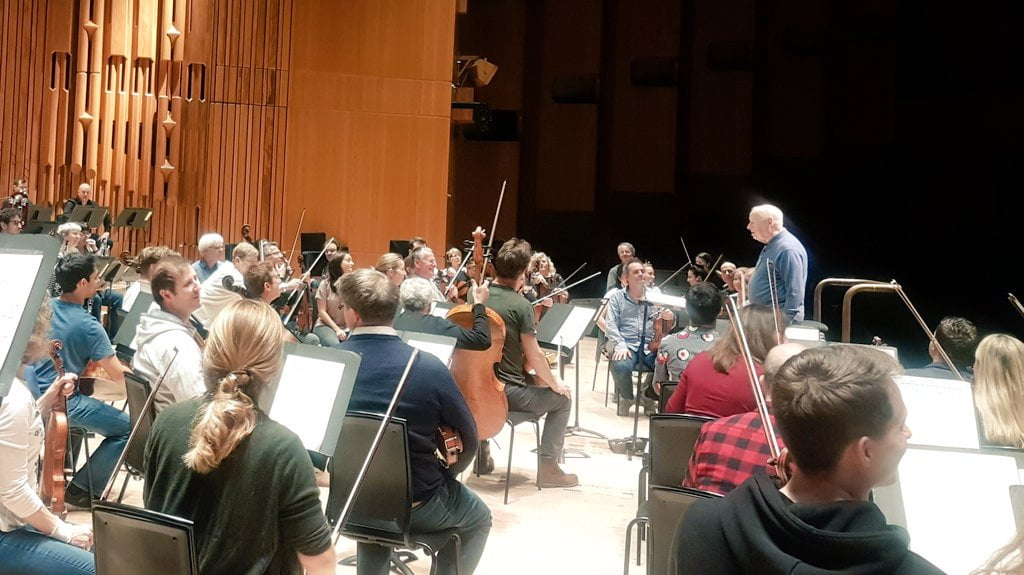 Bernard Haitink during rehearsal with the London Symphony Orchestra in Barbican HallPhotograph: Twitter @@Maxinekwokadams