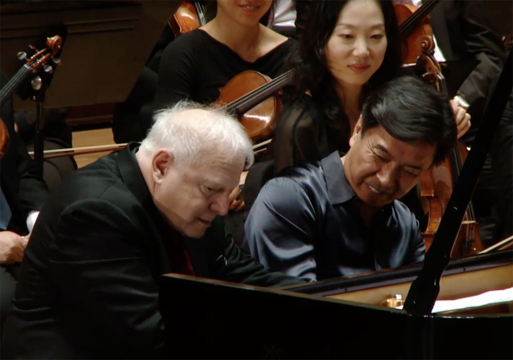 Makoto Ozone with Leonard SlatkinPhotograph: Screenshot from live webcast of Detroit Symphony Orchestra