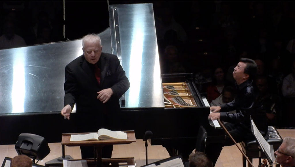 Leonard Slatkin conducts Detroit Symphony Orchestra with Makoto OzonePhotograph: Screenshot from live webcast of Detroit Symphony Orchestra