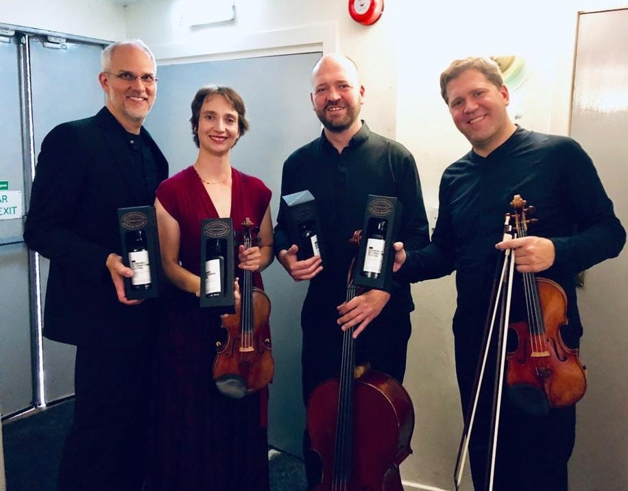 Members of Cuarteto Casals after their performance at Queen's Hall, Edinburgh, with some ScotchPhotograph: Twitter @cuartetocasals