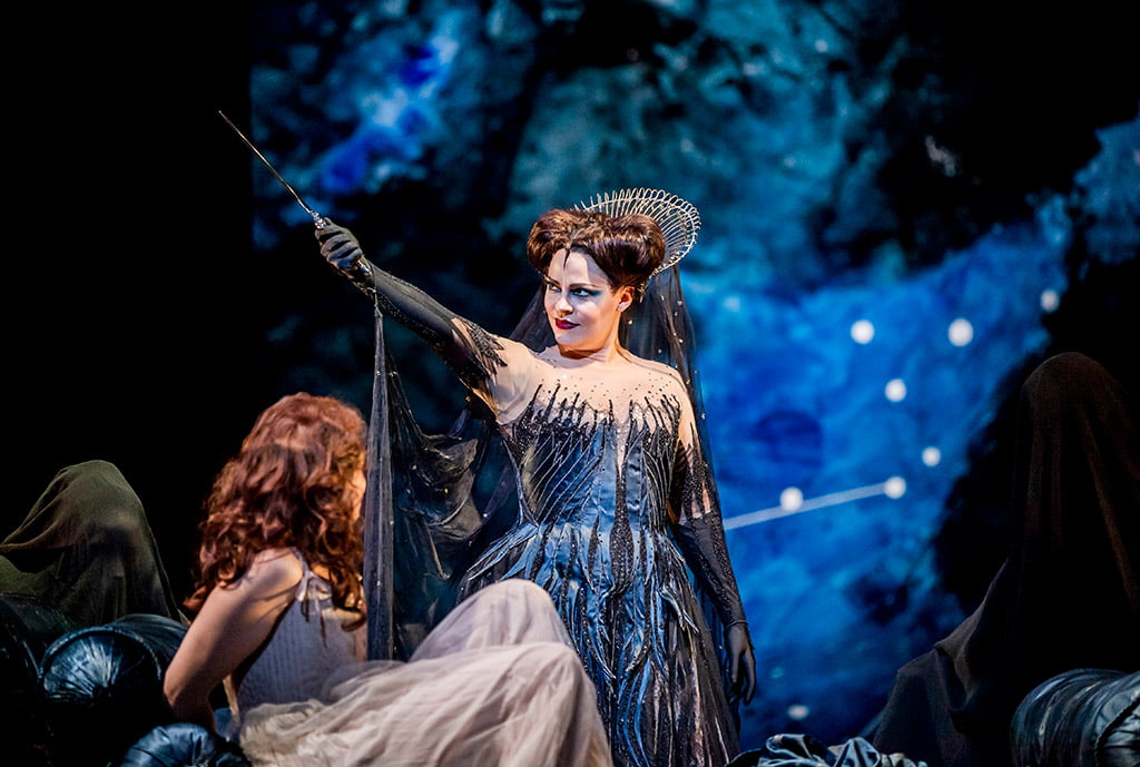 The Royal Opera – David McVicar's production of Mozart's The Magic Flute, (C) ROH 2019Elsa Dreisig as Pamina and Tuuli Takala as Queen of the NightPhotograph: Tristram Kenton