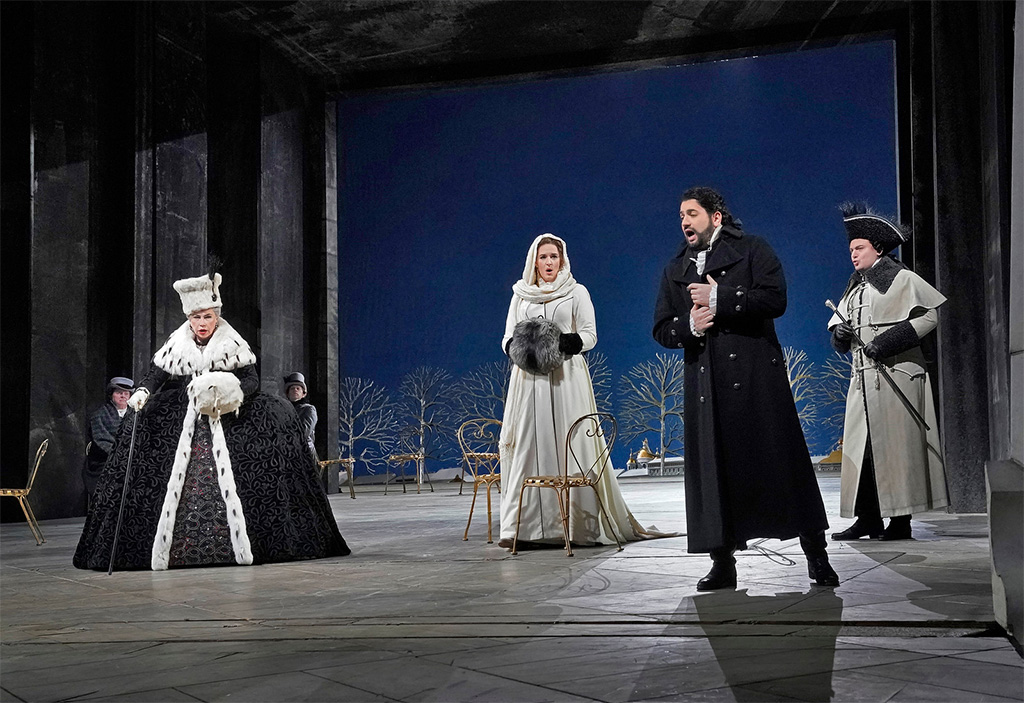 The Metropolitan Opera – Elijah Moshinsky's production of Pyotr Tchaikovsky's The Queen of SpadesLarissa Diadkova as the Countess, Lise Davidsen as Lisa, Yusif Eyvazov as Hermann, and Igor Golovatenko as Prince YeletskyPhotograph: Ken Howard