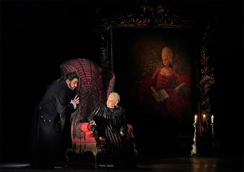 The Metropolitan Opera – Elijah Moshinsky's production of Pyotr Tchaikovsky's The Queen of SpadesYusif Eyvazov as Hermann and Larissa Diadkova as the CountessPhotograph: Ken Howard