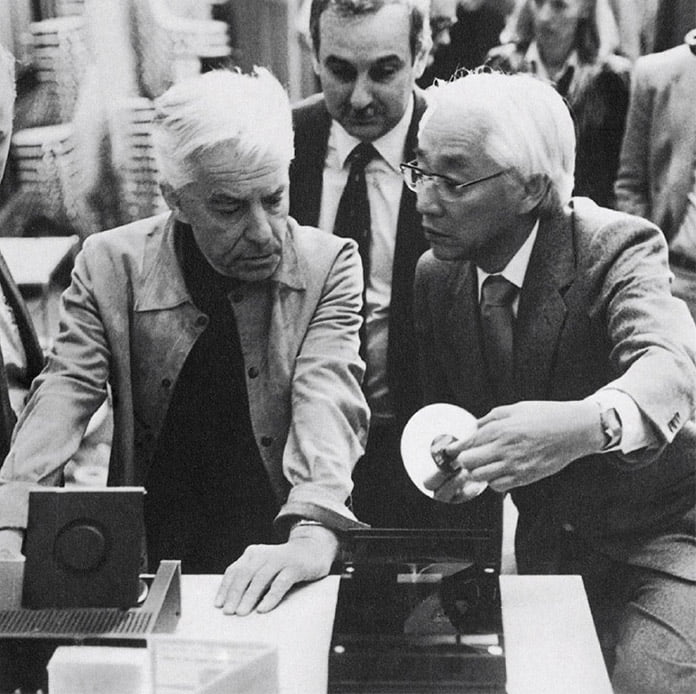 Herbert von Karajan and Sony president Akio Morita at the first joint presentation of the Compact Disc as the record of the future by Philips, Sony and PolyGram, in conjunction with the Herbert von Karajan Foundation, during the 1981 Salzburg Easter Festival Photograph: © Arthur F. Umboh