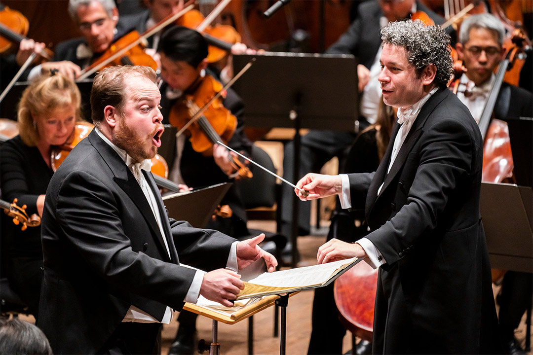 New York Philharmonic – Gustavo Dudamel conducts Gustav Mahler's The Song of the Earth with Andrew StaplesPhotograph: Twitter @GustavoDudamel