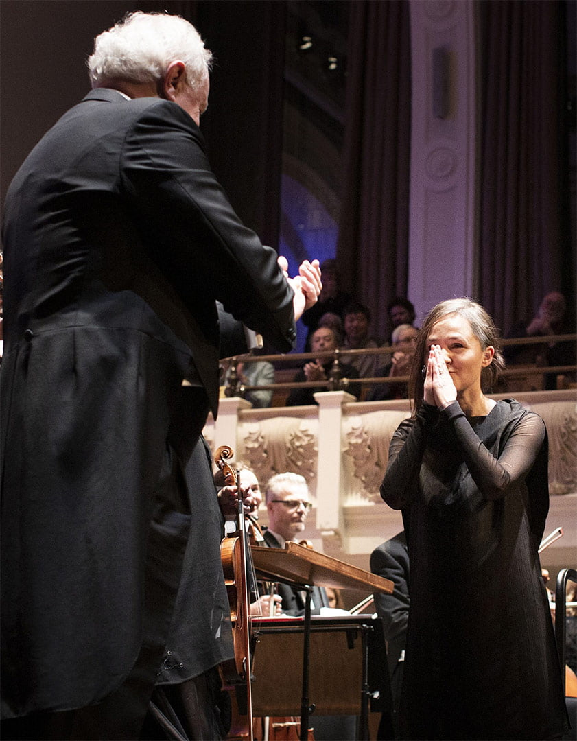 Yan Pascal Tortellier at Cadogan Hall with Anna ThorvaldsdóttirPhotograph: Benjamin Ealovega
