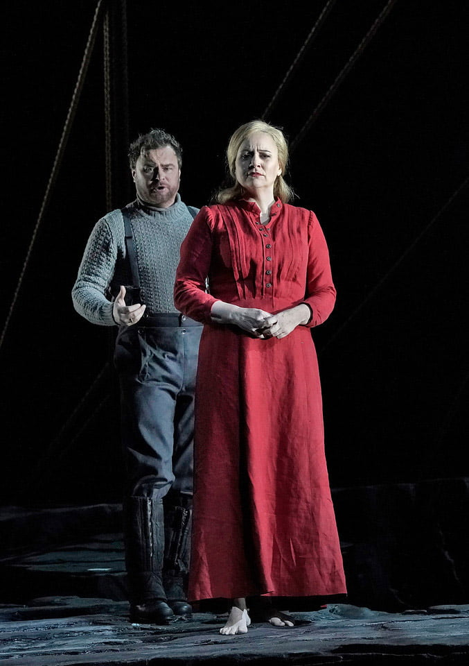 A scene from The Met's production of Richard Wagner's Der fliegende Holländer Sergey Skorokhodov as Erik and Anja Kampe as Senta Photograph: Ken Howard / Met Opera