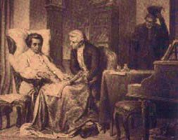 An illustration of Mozart on his deathbed with, it is thought, Süssmayr