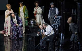 Left to right, the Gods Freia, Donner, Froh, Fricka, Loge and Wotan with Fasolt and Fafner in 'Das Rheingold'. ©Clive Barda