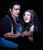 John Hudson as Ramades and Claire Rutter as Aida