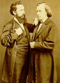 Brahms (right) with the conductor Julius Stockhausen (1826-1906)