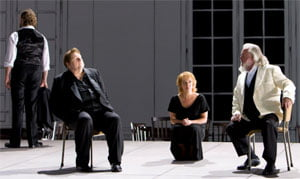 Left to right: Michael Volle as Kurwenal, Ben Heppner as Tristan, Nina Stemme as Isolde and John Tomlinson as Marke. Photograph: Bill Cooper