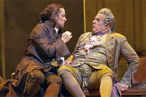 Orlin Anastassov as Basilio & John Del Carlo as Dr. Bartolo (right). Photograph: Ken Howard/Metropolitan Opera