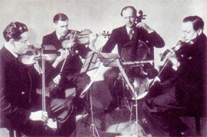 The Aeolian Quartet in 1946: Alfred Cave, Watson Forbes, John Moore, Leonard Dight. Photograph: st-andrews.ac.uk/forbesfest