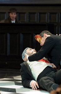 Simon Wilding as Commendatore & Nicholas Garrett as Don Giovanni at Opera Holland Park. Photograph: Fritz Curzon