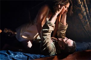 Claudia Huckle as the Duchess of Malfi & Andrew Watts as Ferdinand. Photograph: Stephen Cummiskey