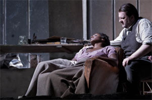 Elizabeth Llewellyn as Mimì & Gwyn Hughes Jones as Rodolfo (La bohème, ENO, Oct 2010). Photograph: Robert Workman
