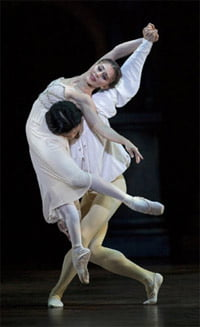 Ambra Vallo as Juliet & Chi Cao as Romeo (Romeo and Juliet, BRB). Photograph: Bill Cooper