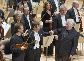 Christian Tetzlaff, Marcelo Lehninger & Harrison Birtwistle at Boston Symphony Hall for the world premiere of Birtwistle's Violin Concerto. Photograph: Michael J Lutch