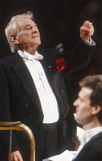 Leonard Bernstein conducts Candide at Barbican Hall in 1989.
