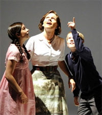 The Turn of the Screw (GFO 2011). Joanna Songi as Flora, Miah Persson as The Governess and Thomas Parfitt as Miles. Photograph: Alastair Muir