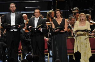 Helena Juntunen, Sarah Connolly, Paul Groves & Matthew Rose sing at the BBC Proms 2011 in Beethoven's Missa Solemnis. Photograph: BBC/Chris Christodoulou