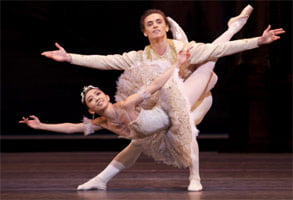 Hikaru Kobayashi & Sergei Polunin in The Sleeping Beauty. Photograph: Royal Opera House, Johan Persson