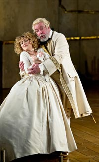 Sophie Bevan as Sophie & Sir John Tomlinson as Baron Ochs (Der Rosenkavalier, ENO, January 2012). Photograph: Clive Barda