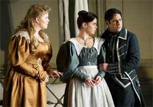 Rachel Willis-Sørensen as the Countess, Aleksandra Kursak as Susanna & Ildebrando D'Arcangelo as Figaro (Le nozze di Figaro, The Royal Opera, February 2012). Photograph: Bill Cooper
