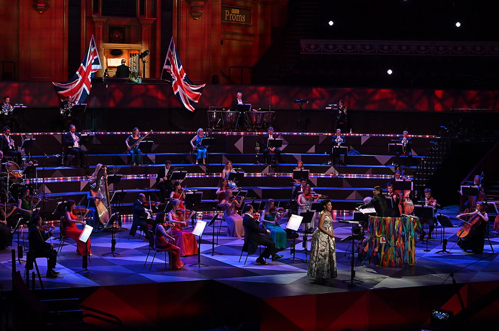 Soprano Golda Schultz with the BBC SO conducted by Dalia Stasevska on stage at the Last Night of the Proms on Saturday 12 November. Photo by Mark Allan/BBC